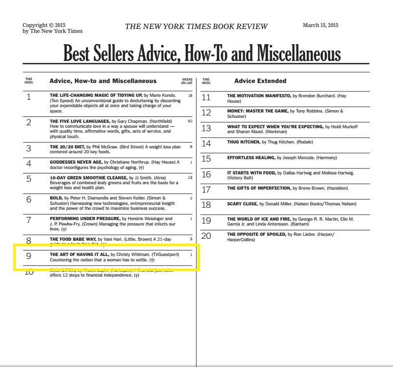 #9 New York Times Bestsellers List